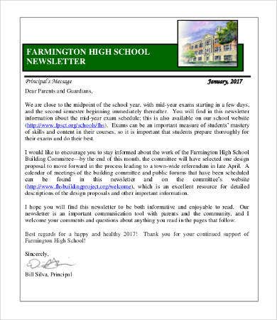 High School Classroom Newsletter Template