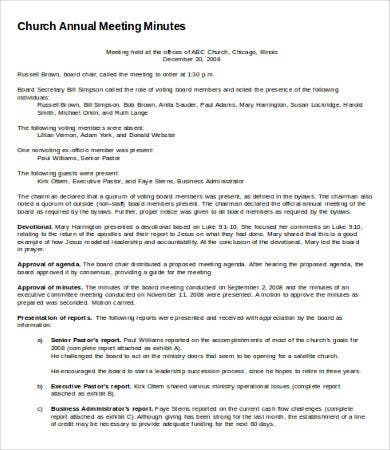 annual meeting minutes template 6 free word pdf documents