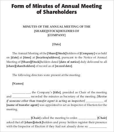 Minutes of shareholders meeting template gallery for Annual corporate minutes template free