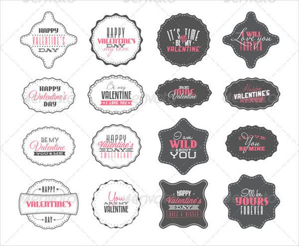 Valentines Day Label Vector