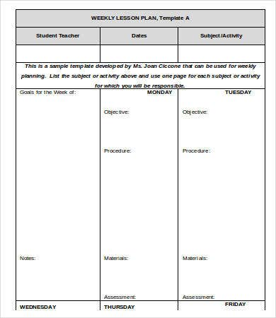 one page weekly lesson plan template