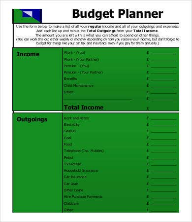 free blank budget planner