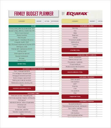 free family budget planner