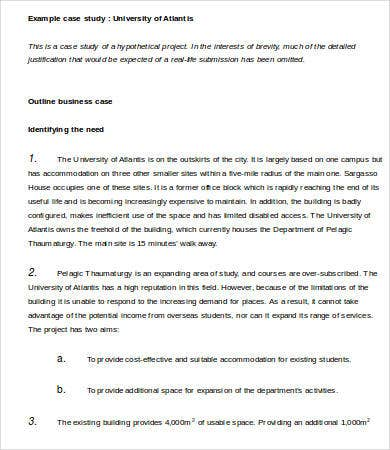 business case study template word
