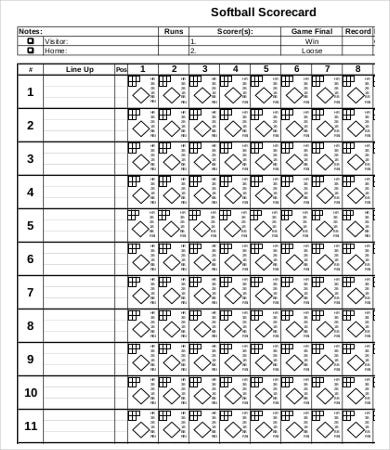 photo relating to Printable Softball Score Sheets known as 11+ Softball Rating Sheet Templates - PDF, Document Absolutely free