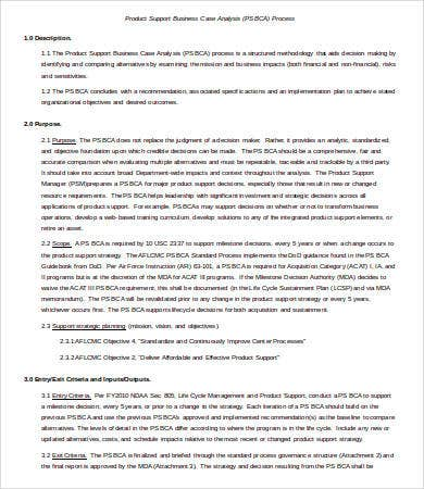 Product Business Case Analysis Template Word