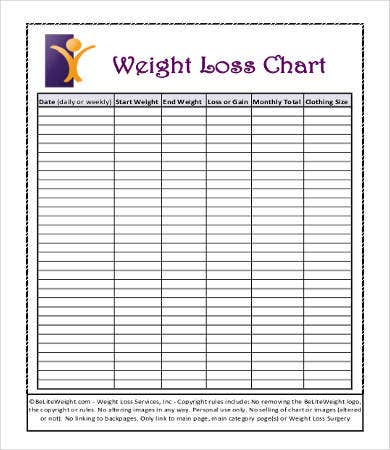 Sample weight loss charts 9 free pdf documents download free