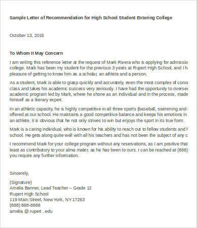 high school teacher recommendation letter
