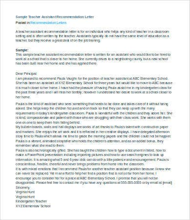 Teacher-istant-Letter-of-Recommendation Teacher Istant Letter Of Recommendation Template on