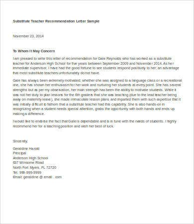 Letter Of Recommendation For Teacher 8 Free Word Documents Substitute Template