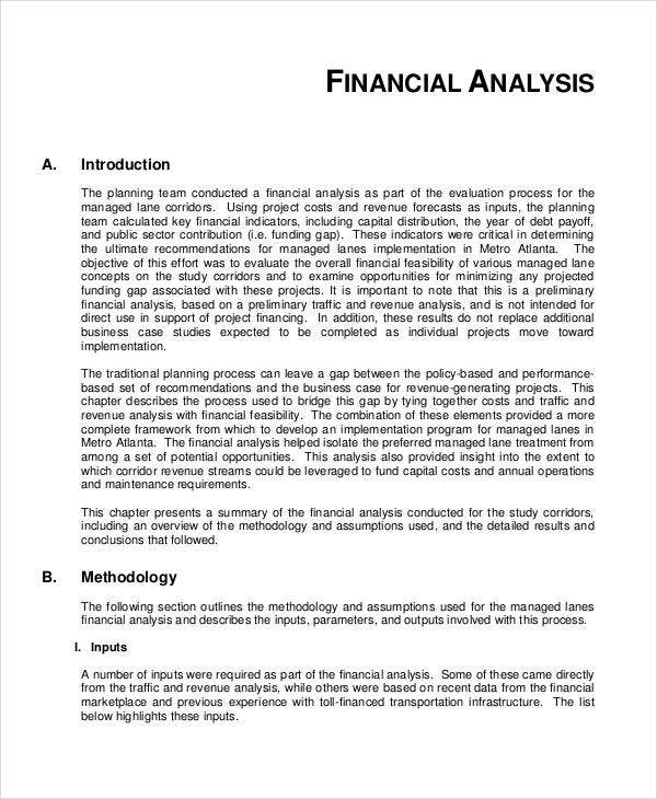 Financial Feasibility Ysis Template