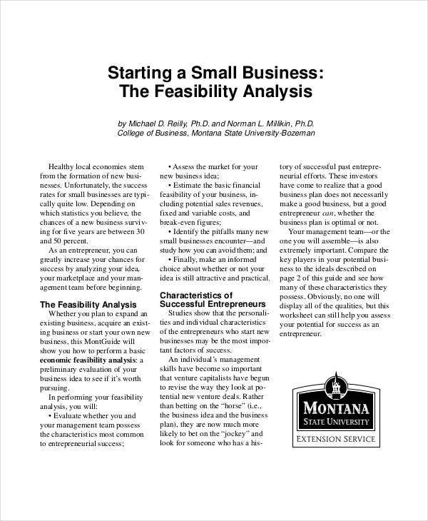 small business feasibility analysis template