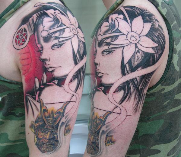 Traditional Tattoo of Freehand Geisha