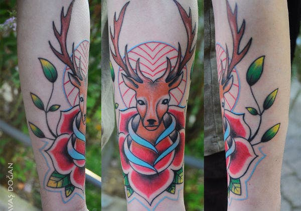 Traditional Tattoo of Deer
