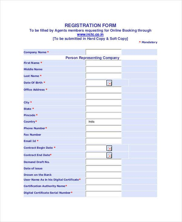 registration form template1