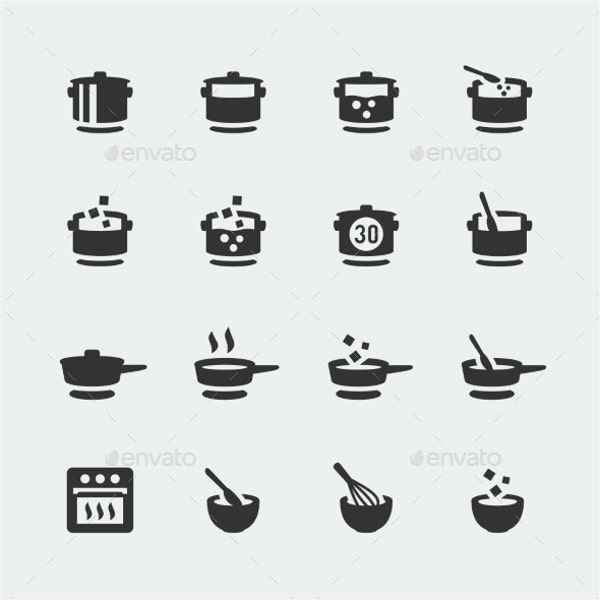 vector cooking icons set
