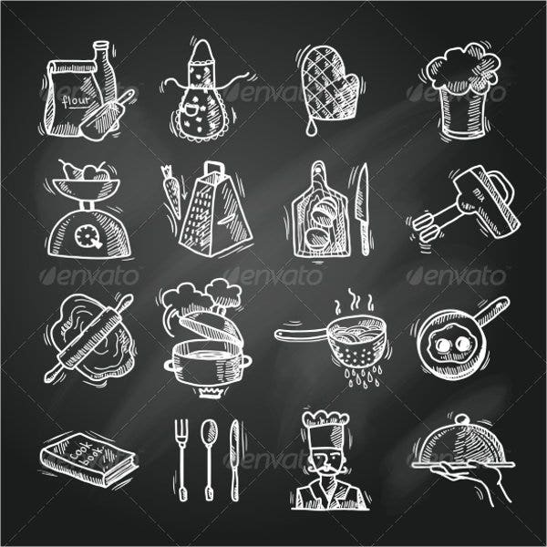 Cooking Sketch Icons