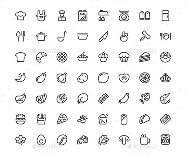 cooking line icons set