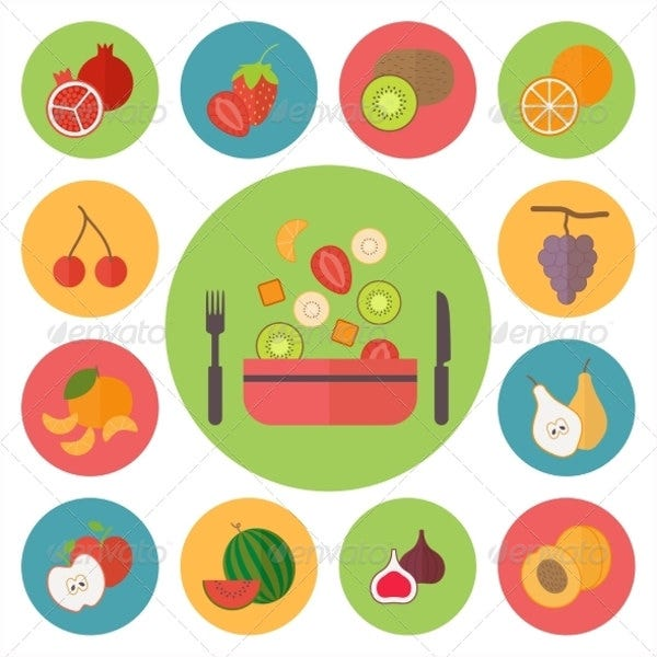 fruit and cooking icons