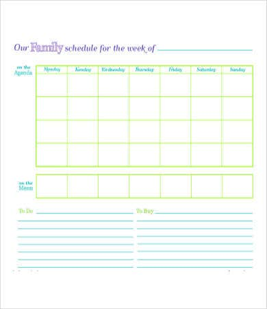 Printable Family Weekly Planner