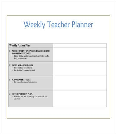 Weekly Teacher Planner Printable