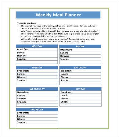Printable Weekly Meal Planner