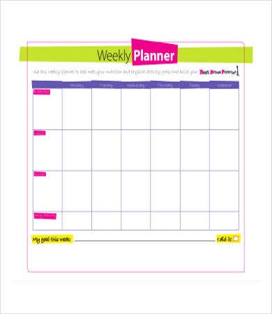 body works weekly planner