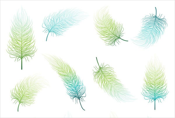 Blue Green Feather PSD Set