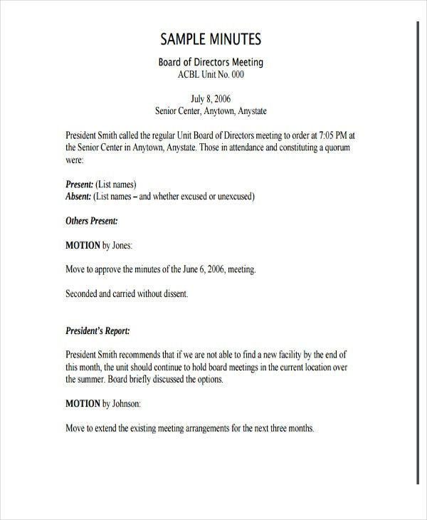 minutes of the meeting templates