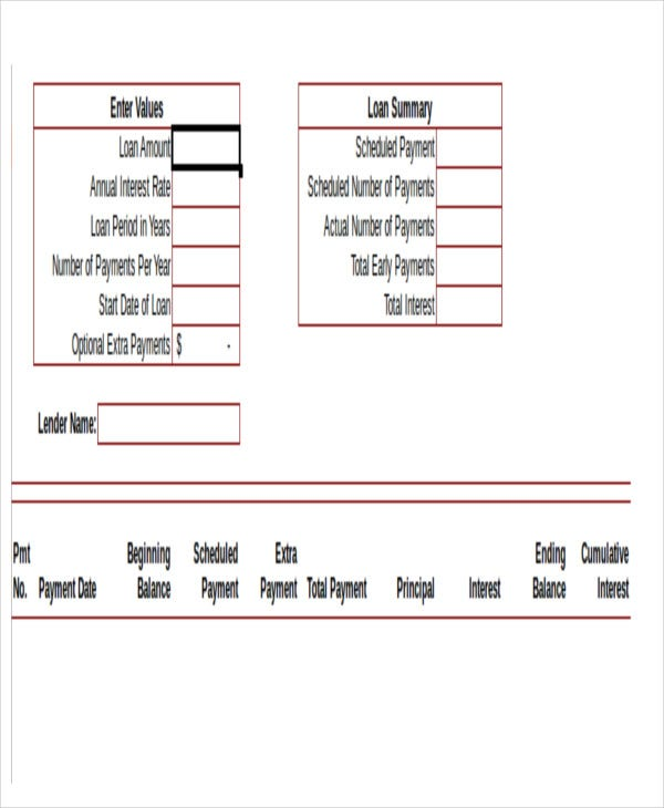 free car loan amortization schedule template