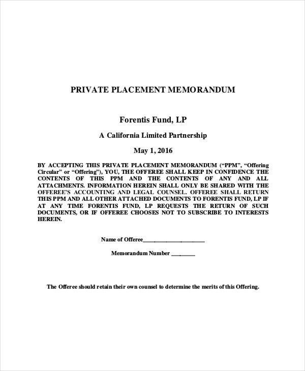 private placement memorandum requirements