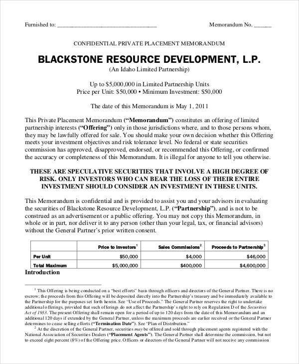 mining private placement memorandum