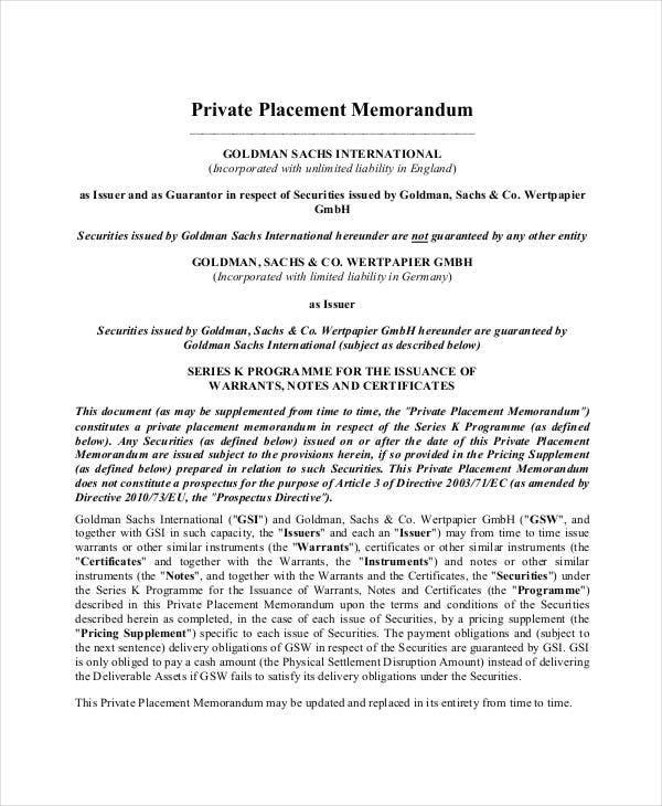 Private Placement Memorandum   Free Pdf Documents Download