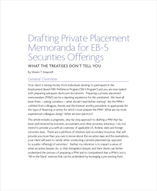 drafting private placement memorandum