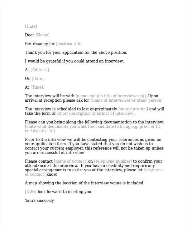 Interview acknowledgement letter templates 5 free word for Interview call letter template
