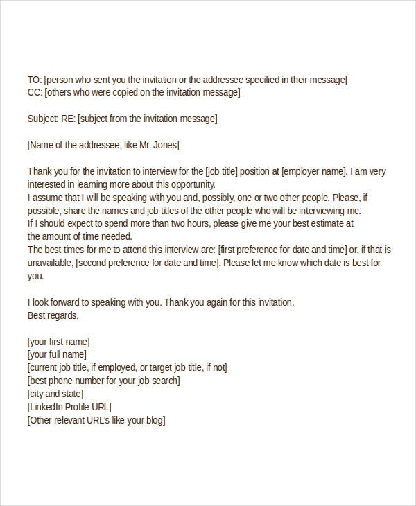 Interview acknowledgement letter templates 5 free word pdf acknowledgement letter for job interview invitation thecheapjerseys Gallery