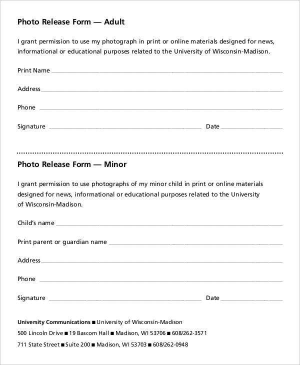 adult photo release form template