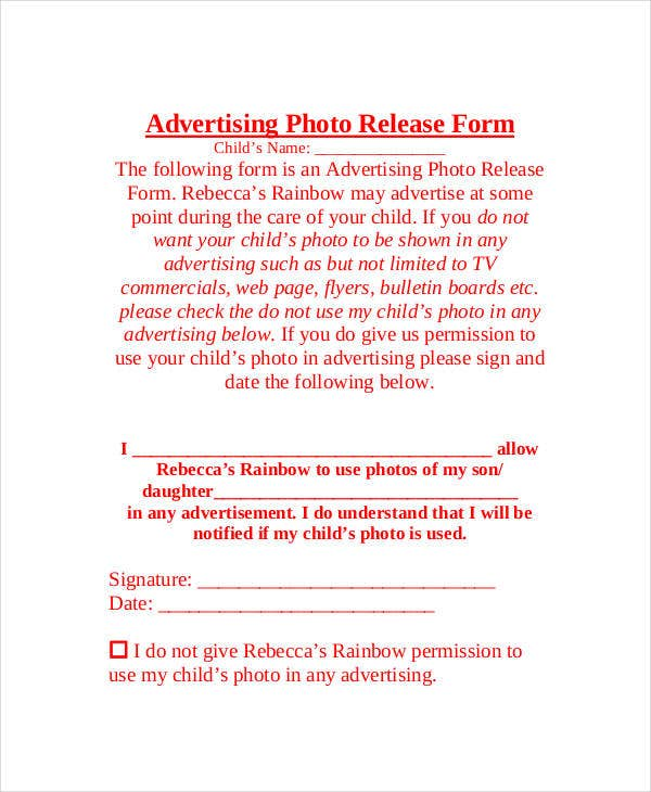 advertising photo release form template