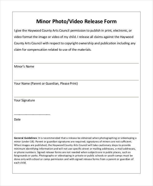 minor photo release form template