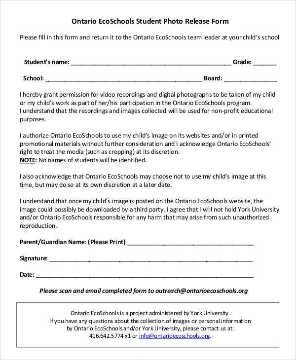 School Student Photo Release Form Template