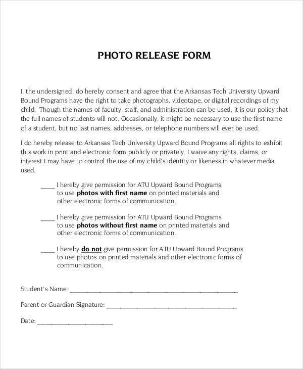 Simple Photo Release Form Template