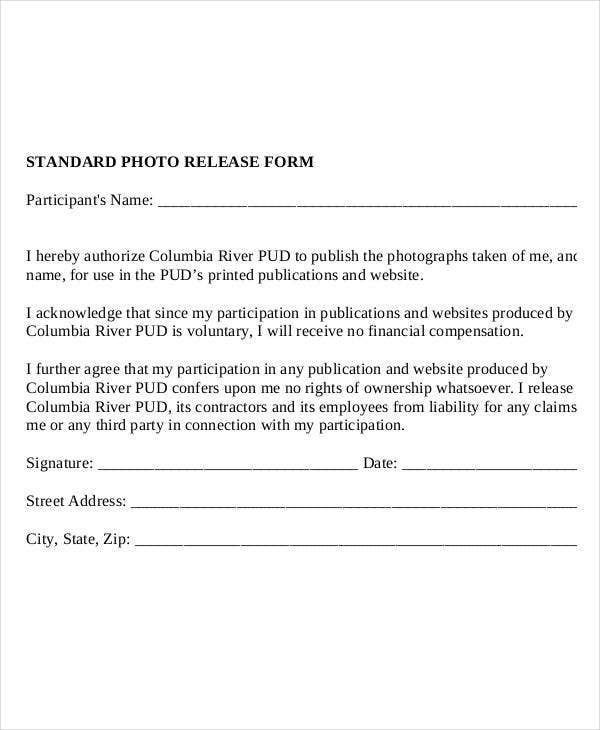 Photo release form template 9 free pdf documents for Standard model release form template