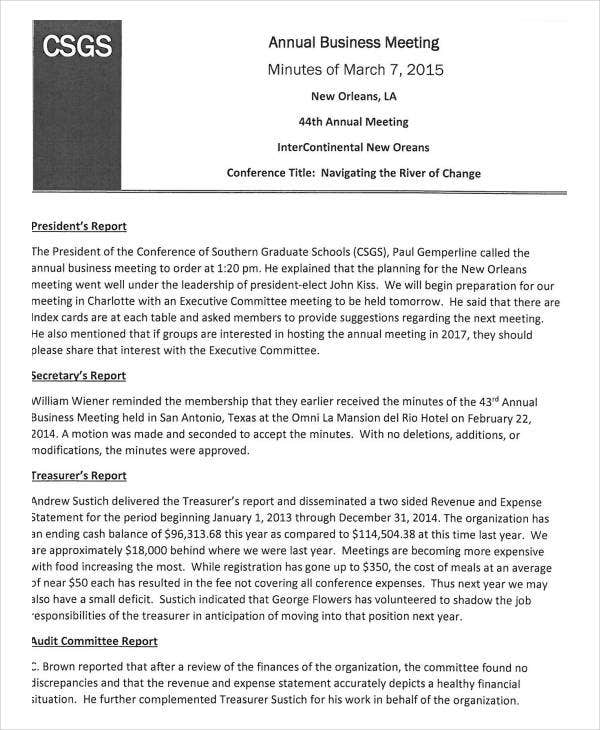 annual business meeting minutes template1