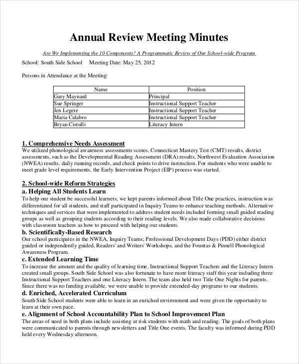 Annual Review Meeting Minutes Template