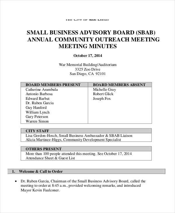annual meeting minutes template 9 free pdf documents download