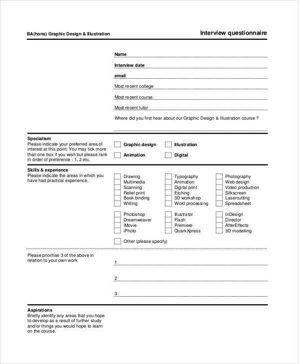 Interview Questionnaire Template  Interview Question Template