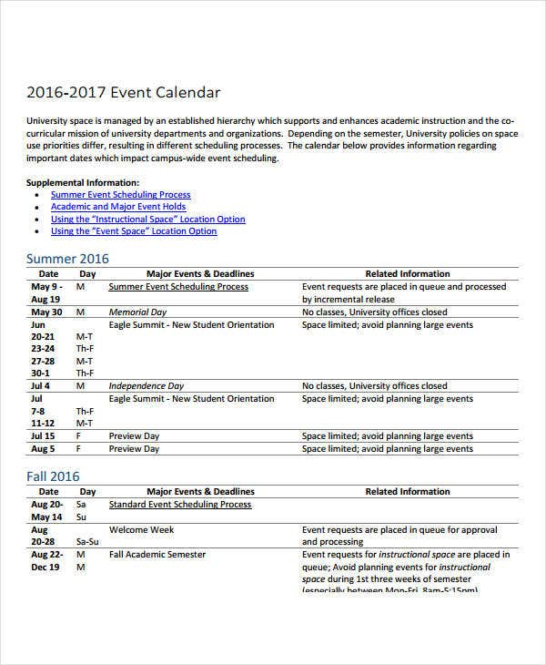 Planning Calendar Template   Free Word Pdf Format Download