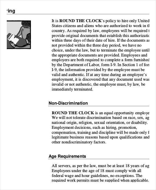 restaurant employee handbook sample