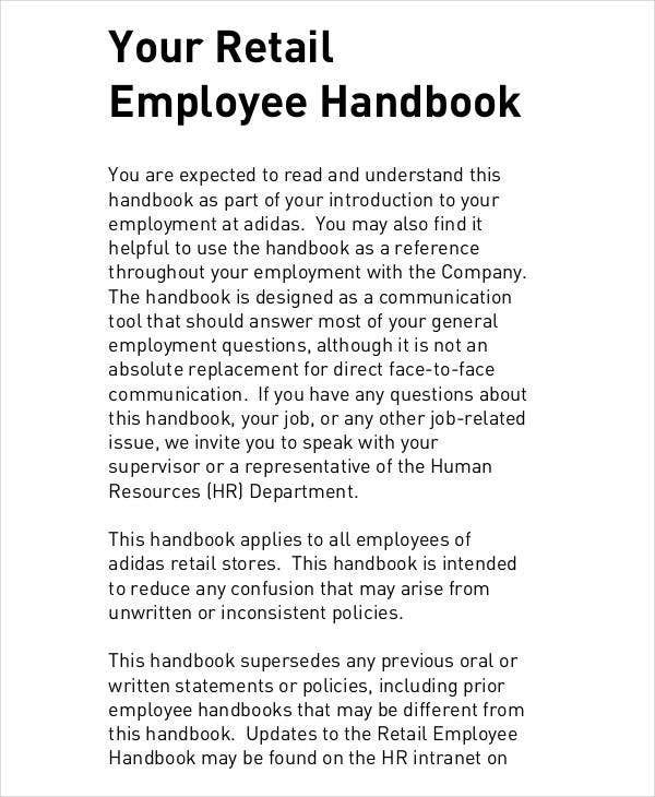 Stores procedures manual for Employees handbook free template