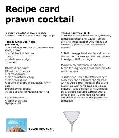 cocktail recipe card template